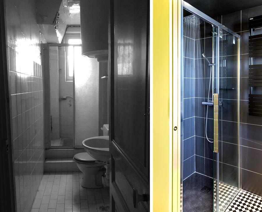 Avant - aprés aménagement d'une salle de bain par un architecte d'intérieur
