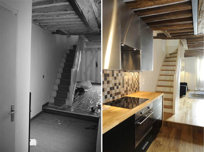 R novation d 39 un appartement 3 pi ces en duplex n mes for Amenagement d une cuisine