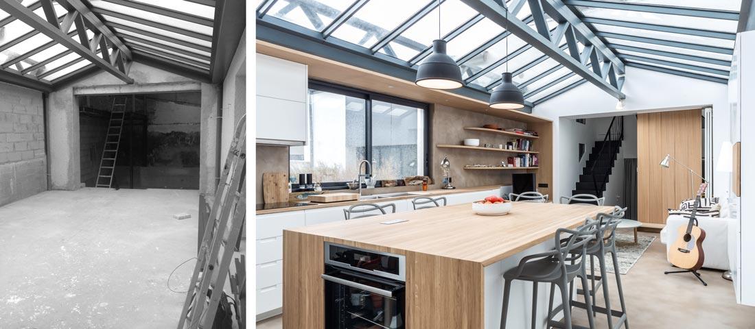 Loft contemporain avec verrière : photo avant - après d'une réalisation d'architecture d'intérieur