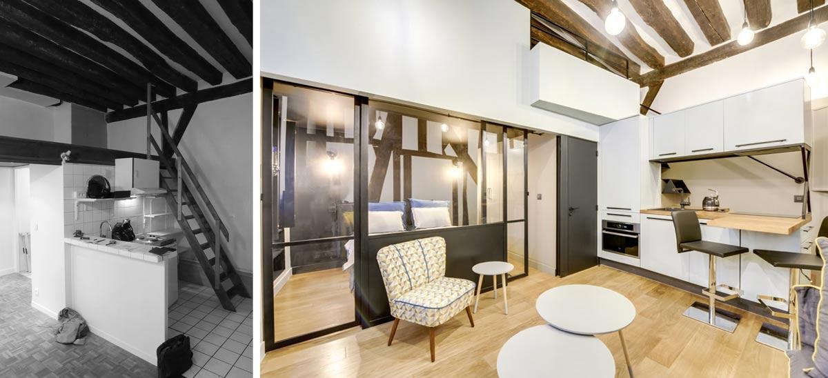 avant apr s r novation d 39 un studio de 25m2. Black Bedroom Furniture Sets. Home Design Ideas