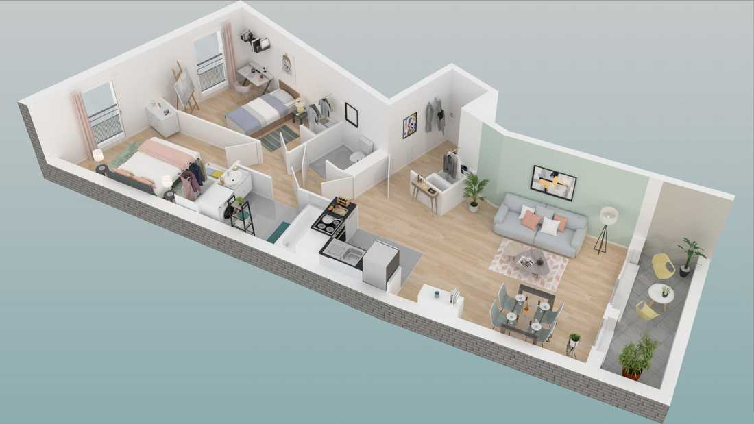 Example of 3D images from a real estate developer specilised in off-plan apartments